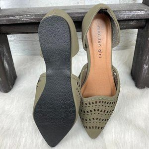 NEW Madden Girl olive green cut out open flats 6.5